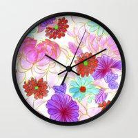 oriental Wall Clocks featuring Oriental blossom by Federico Faggion