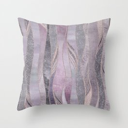 Glamorous Rose Gold Purple Wavy Glitter Lines Throw Pillow
