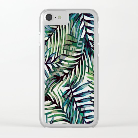 Palm Leaves Abstract Clear iPhone Case