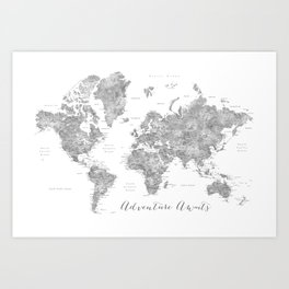 Adventure awaits... detailed world map in grayscale watercolor Art Print