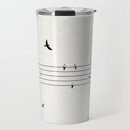 Music Score with Birds Travel Mug