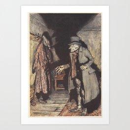 Arthur Rackham - Dickens' Christmas Carol (1915): Scrooge and His Shadow Art Print