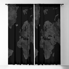 "Black and gray watercolor world map ""Coal mine"" Blackout Curtain"