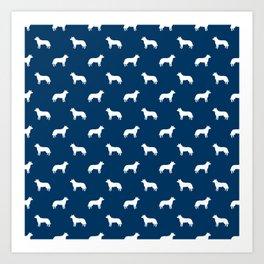 Australian Cattle Dog silhouette pattern portrait dog pattern navy and white Art Print