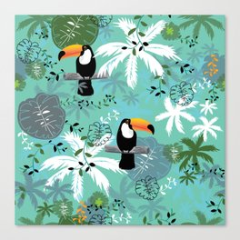 Turquoise Toucan Forest Canvas Print