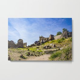 Stone Steps Leading up to the Temple Area of Golconda Fort in Hyderabad, India Metal Print