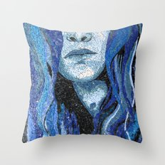 Of Water - Monochromatic Mosaic Throw Pillow