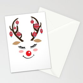 Reindeer sleigh Santa Claus Rudolph gift Stationery Cards