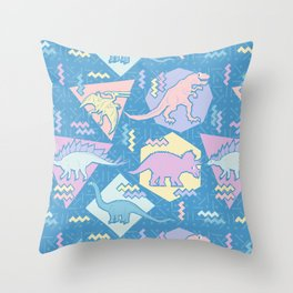 Nineties Dinosaurs Pattern  - Pastel version Throw Pillow