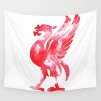 liverpool Wall Tapestries featuring Liverpool Liver Bird watercolour  by sarah illustration