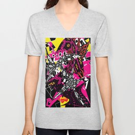 Abstract in callage bright colors and layers of patterns Unisex V-Neck