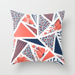 Coral Modern Geometric Pattern with Animal Print, Stripes and Flowers Throw Pillow