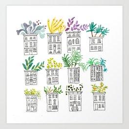 Row House Planters Art Print