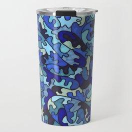 Shades of Blue Puzzle Pieces Travel Mug