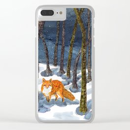 Winter Fox - Alcohol Ink Clear iPhone Case