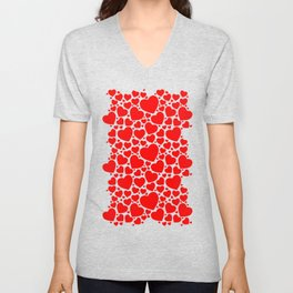 Red Hearts Pattern Unisex V-Neck