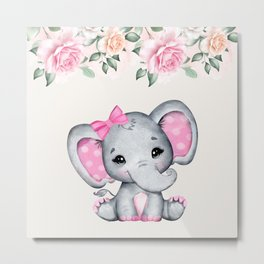 Cute Pink Baby Elephant and Roses Border Metal Print