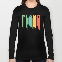 Retro 1970's Style Plano Texas Skyline Long Sleeve T-shirt