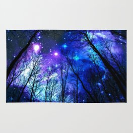 black trees purple blue space Rug