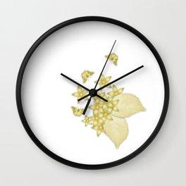 Elegant gold butterflies and gold flowers Wall Clock