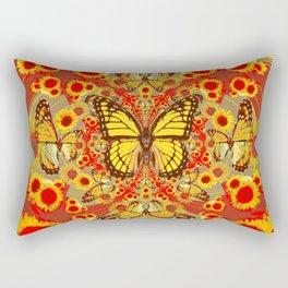 RED YELLOW MONARCH BUTTERFLY WORLD FLORALS MODERN ART Rectangular Pillow