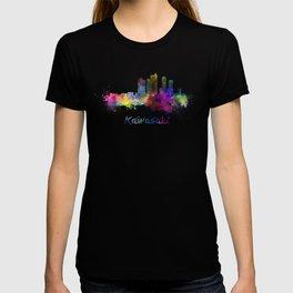 Kawasaki skyline in watercolor T-shirt