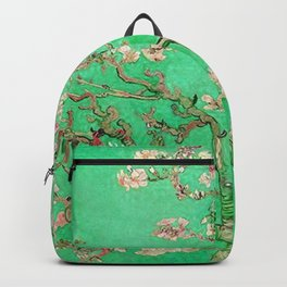 Almond Blossoms Green Backpack