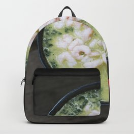 Spinach soup with shrimp Backpack