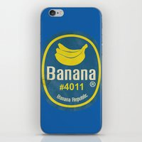 sticker iPhone & iPod Skins featuring Banana Sticker On Blue by Karolis Butenas