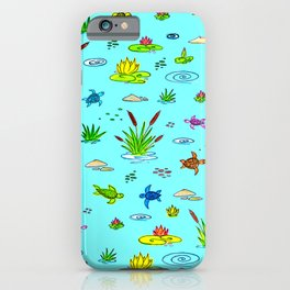 Turtles on The Lake - Сanes Water Lily - Rainbow Drawing for Kids - Blue Indigo iPhone Case