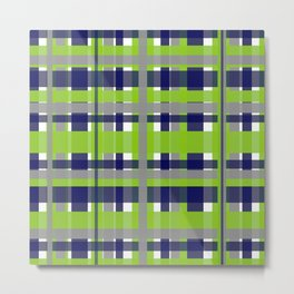 Retro Modern Plaid Pattern 2 in Lime Green, Bright Navy Blue, Gray, and White Metal Print