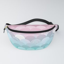 Modern teal pink scallope mermaid gradient Fanny Pack