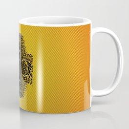 fractal black skull portrait with orange abstract background Coffee Mug