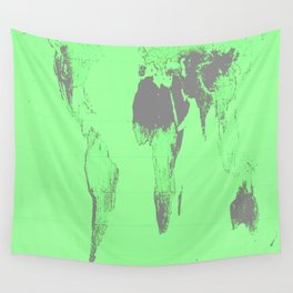 World Map : Gall Peters Seafoam Green Wall Tapestry