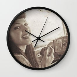 """Roger That"" - The Playful Pinup - Sepia Weathered Air Force Pinup Girl by Maxwell H. Johnson Wall Clock"