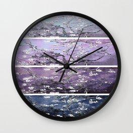 Vincent Van Gogh : Almond Blossoms Panel Art Dark Blue Purple Lavender Wall Clock