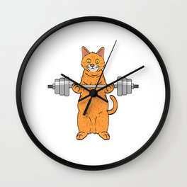 "Great Leg Day Shirt ""Cat"" T-shirt Design Dumbbell Injury Injured Crutches Funny Fitness Wall Clock"