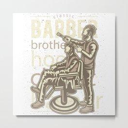 Barber Brotherhood Retro Metal Print