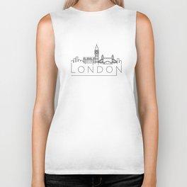 Linear London Skyline Design Biker Tank