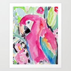 SCARLET THE MACAW Art Print