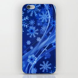 Blue Snowflakes Winter iPhone Skin