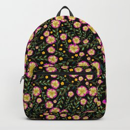 Flowers pattern with black background Backpack