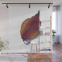 Cherry Leaf Watercolor Wall Mural