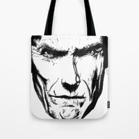 clint eastwood Tote Bags featuring Clint Eastwood by Zombie Rust