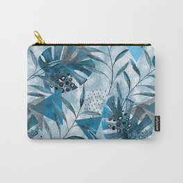 Tropical pattern.Gray, blue leaves, geometric shapes. Carry-All Pouch