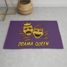 Drama Queen Comedy And Tragedy Gold Theater Masks Rug