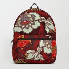 Burgundy Red Gold Bird Flowers Glitter Backpack