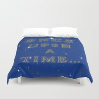 fairy tale Duvet Covers featuring Fairy Tale Beginnings by Fimbis
