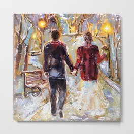 Married couple cozy oil painting, wedding picture, wedding in winter painting Metal Print