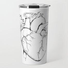 Black and White Anatomical Heart Travel Mug